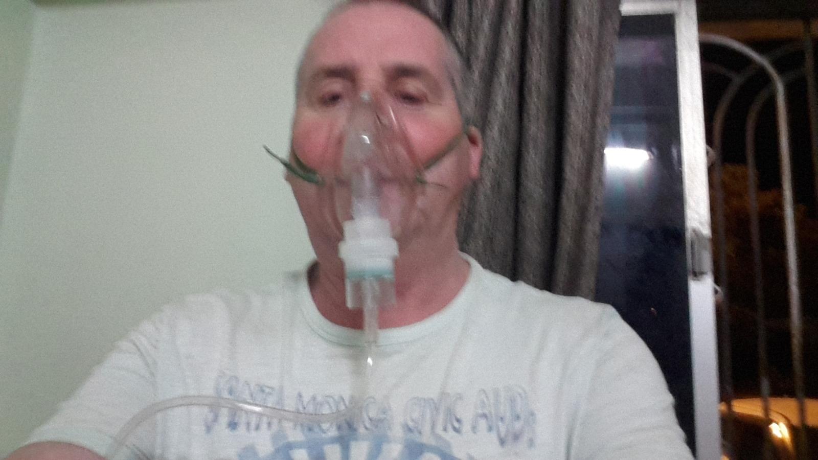 Garry McGivern on a nebuliser