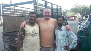 Garry McGivern making friends with the locals in Dhule