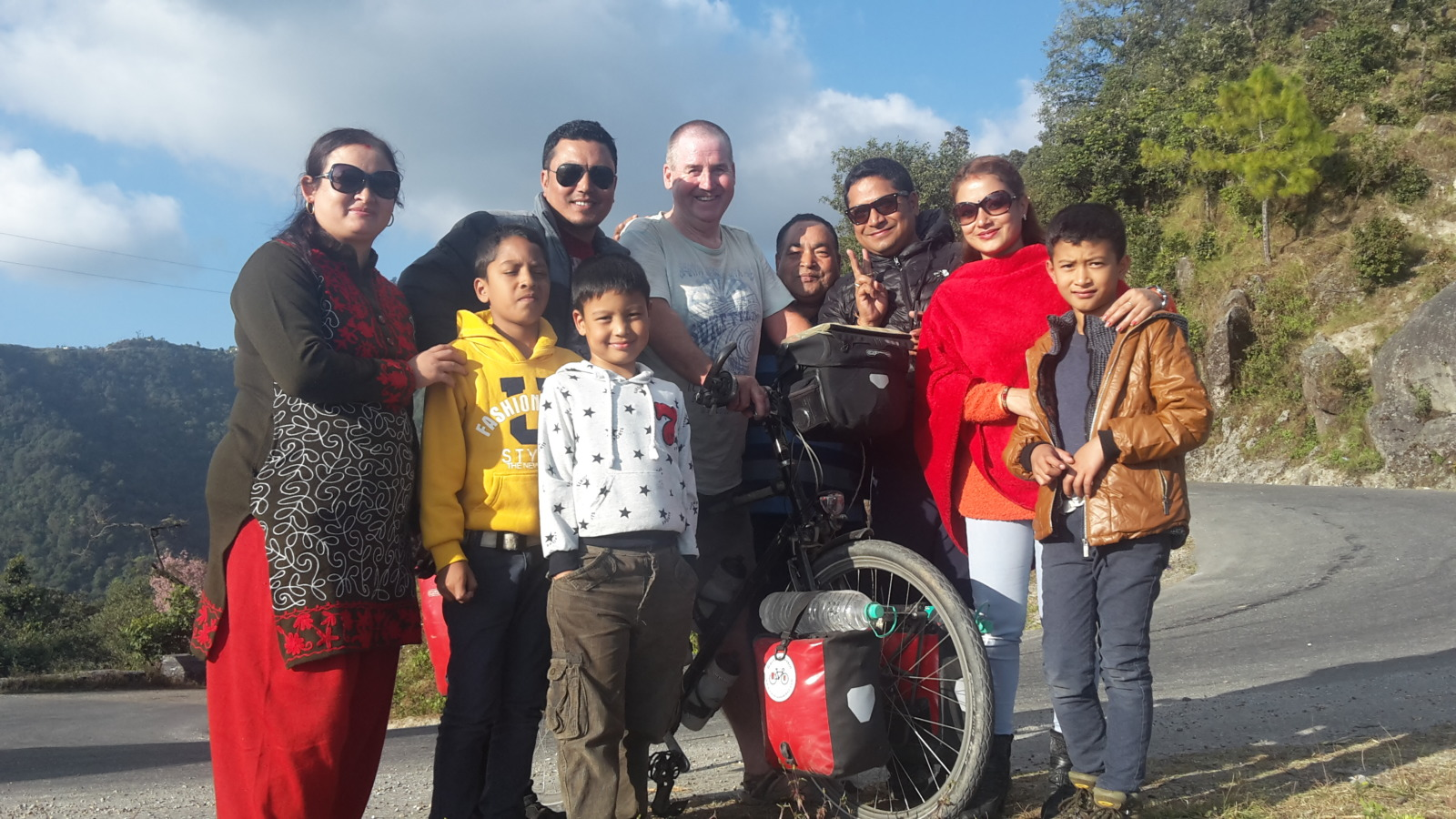 Garry McGivern with some local Nepalese people