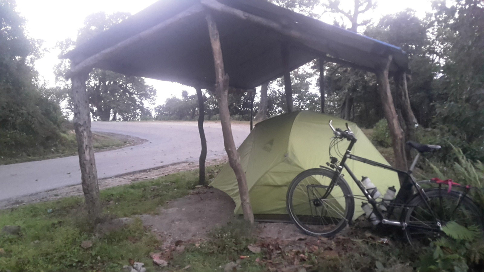 Tent by the side of the road