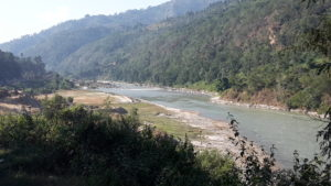 Looking up the Trishuli river.