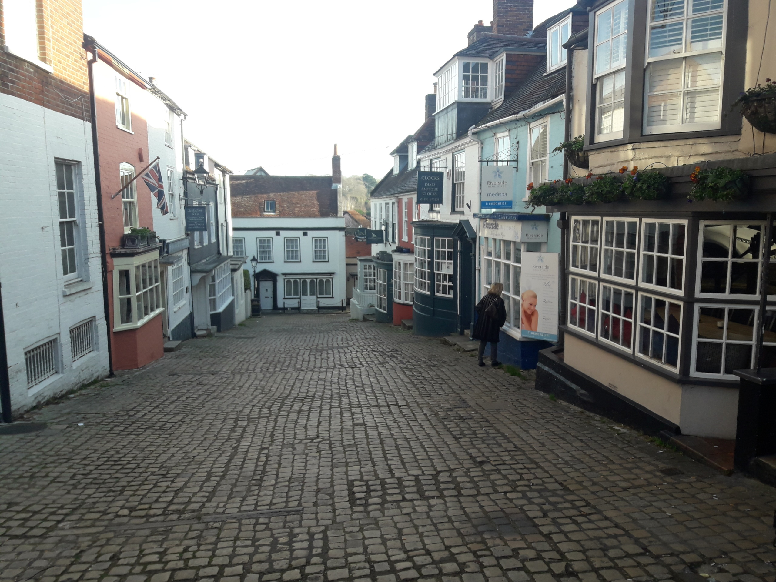 Cobbled street with shops