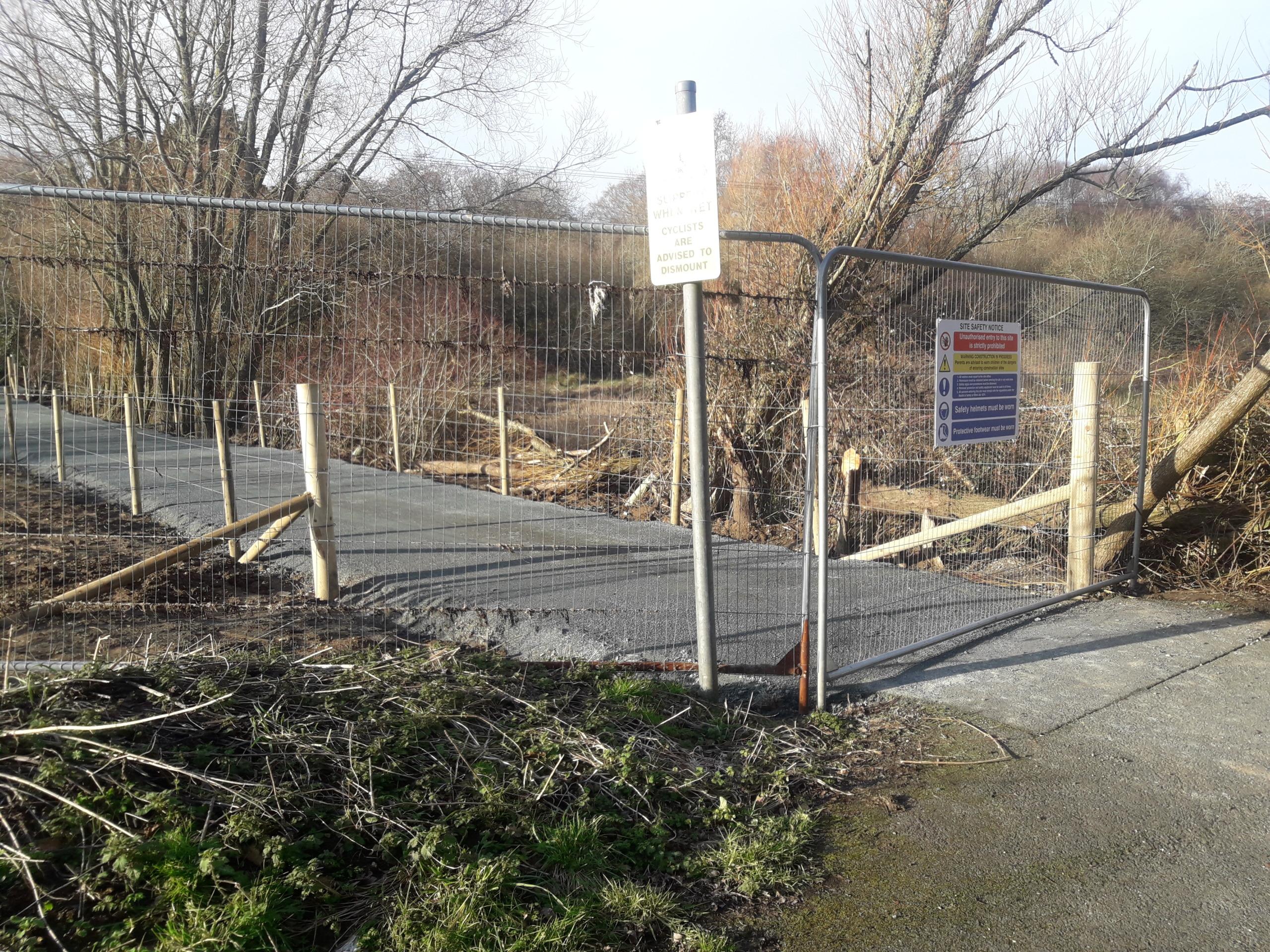 Fenced off path
