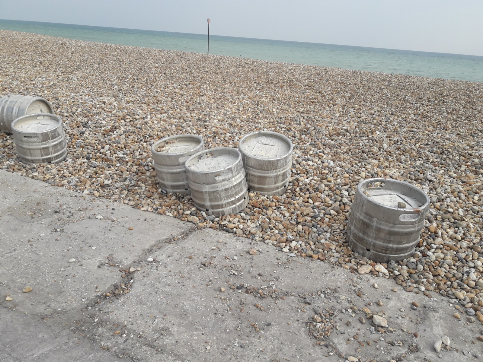 Beer barrels on the beach