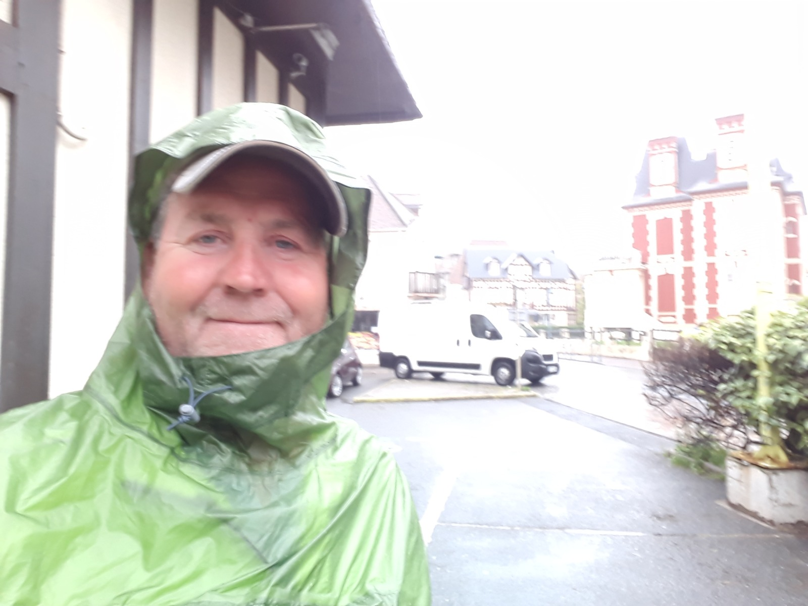 Man in wet weather clothes