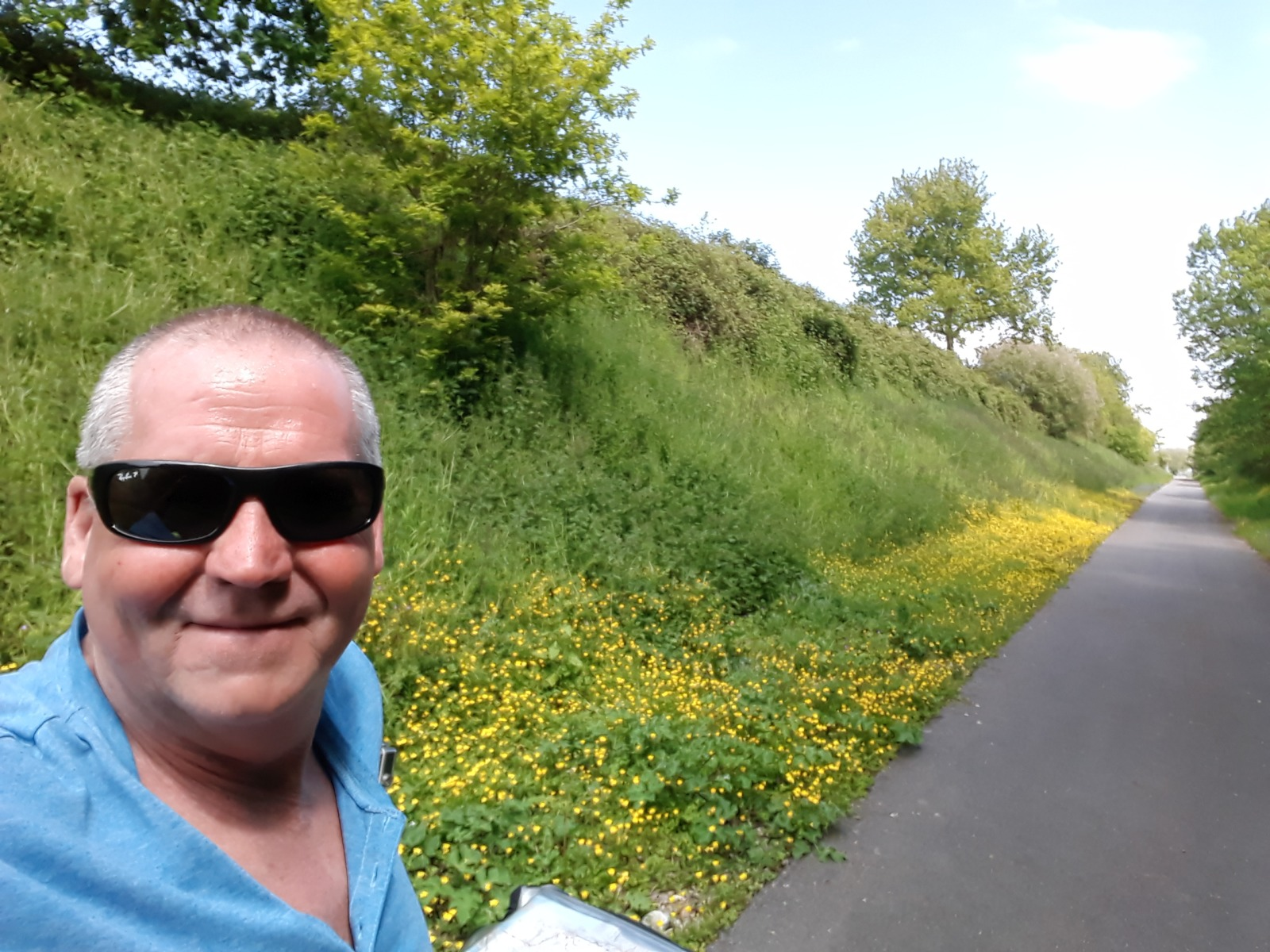 Man path flowers