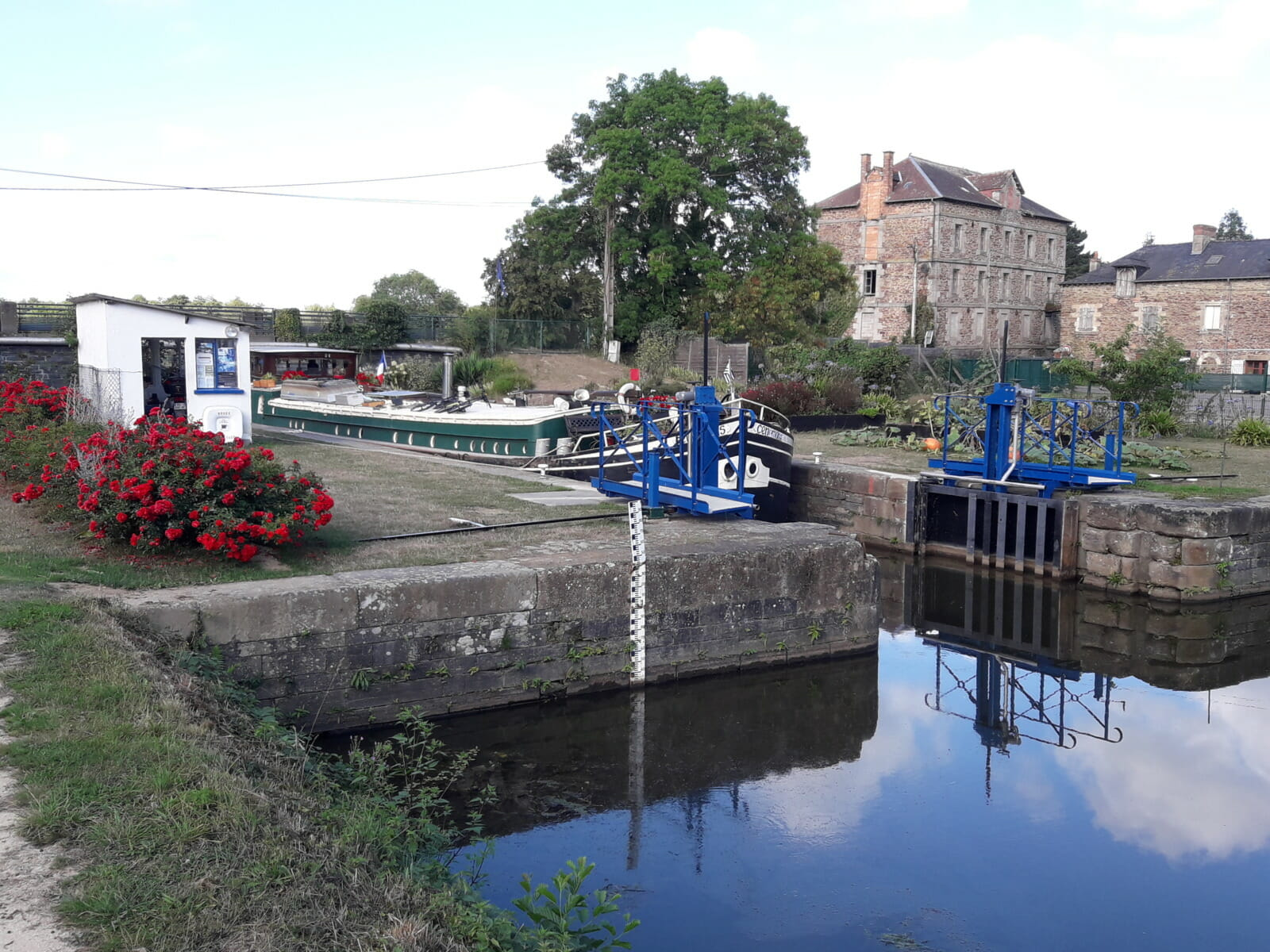 Canal lock barge flowers