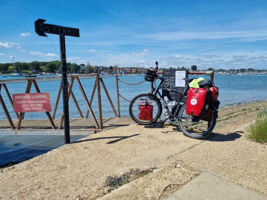 Touring bike by water