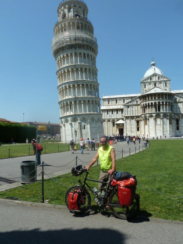 Man with bike at Pisa