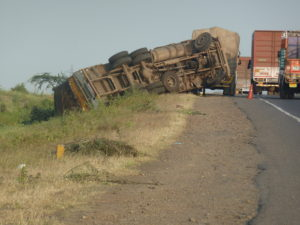 Crashed lorry in India