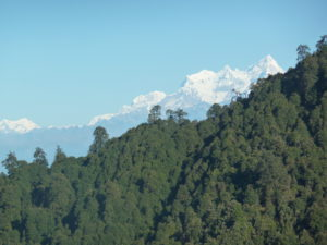 Nearly at the top of the Tribhuvan Highway looking at the snow covered mountains in the distance