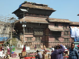 Nasel Chowk nine storey building that isn't nine storeys any more after the earthquake in 2015. Durbar Square Kathmandu.