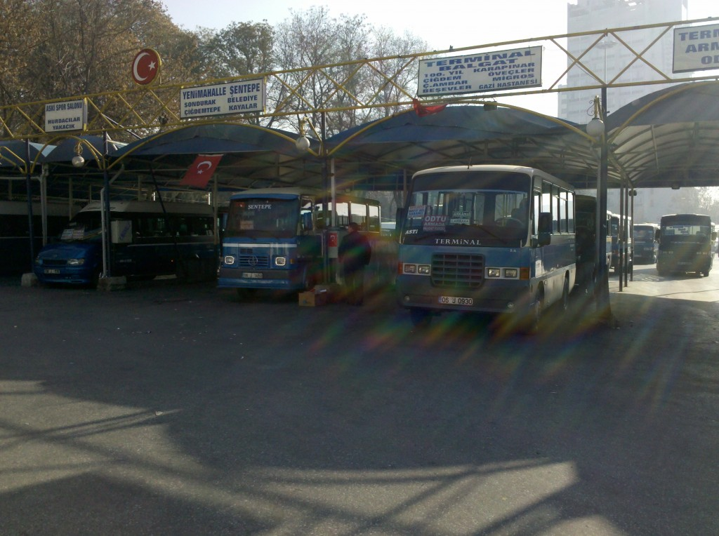 The Dolmus bus terminal in Ankara Turkey