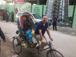 Garry McGivern on a rickshaw